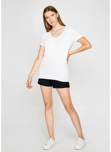 Tiffany&Tomato V Yaka Salas T-Shirt Beyaz